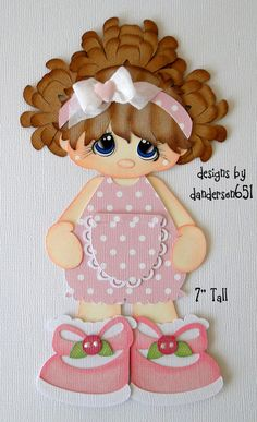 Girl in Pink Romper Paper Piecing Premade 4 Border Scrapbook Albums DANDERSON651 | eBay