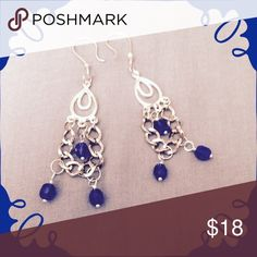 """Royal Blue Earrings with Chains Royal blue crystal beads dangle down from chandelier components & stainless steel chains from stainless steel ear hooks. Earrings are 3"""" long. Jewelry Earrings"""