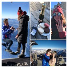 """Queuing to step out on to the glass viewing platform at the top of the Aiguille Du Midi in Chamonix, Chlöe mused """"I wonder how many people propose up here?"""", cooly Nick deflected """"I don't know, how many do you think?""""... A few minutes later, at 3842m above sea level, above a 1000m drop Nick presented a gorgeous 1ct diamond set Abbraccio... Spectacular!"""