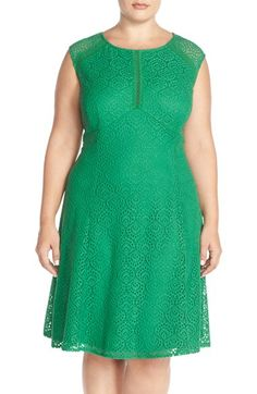 London Times 'Feather' Lace Fit & Flare Dress (Plus Size) available at #Nordstrom