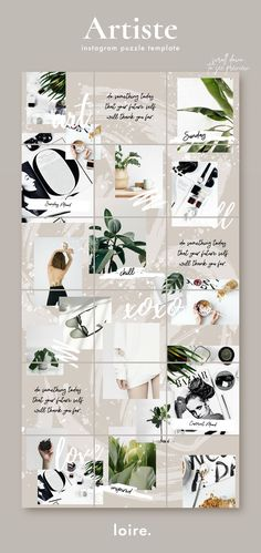 Artistic Instagram puzzle grid template for Canva - create a beautiful Instagram feed in minutes! Artiste is a modern, creative Instagram collage template designed specifically for bloggers and influencers. This easy-to-use Canva template will help you curate your Instagram content weeks in advance with just a few clicks. @creativemarket #instagram #instagramtemplate #instagramtheme #instagramposts #instagrampuzzle #instagramtips Preview Instagram, Instagram Feed Layout, Instagram Collage, Instagram Grid, Instagram Design, Instagram Posts, Nature Instagram, Graphisches Design, Grid Design