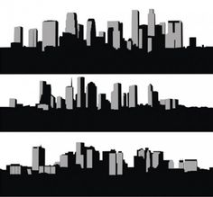 Silhouette Vector : Free City Skyline Silhouettes Set .ai Vector ...