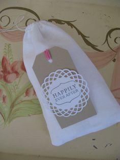 20% off with code pinterest10  Rustic Wedding Favor Bag White with Kraft Tag by PrinceSnowFarm, $3.00