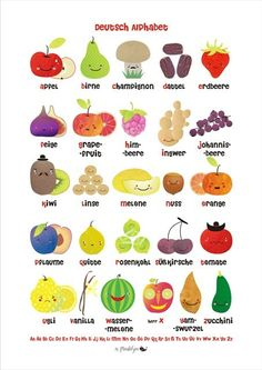 Fruit and Vegetable German Alphabet Poster by MarlaSea by marlasea : 1 of your 5 a day :D