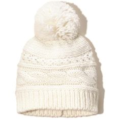 Hollister Cable Pom-pom Beanie ($9.97) ❤ liked on Polyvore featuring accessories, hats, cream, stitch hat, cable knit beanie hat, cream beanie, cable knit hat and beanie hats