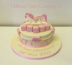 OCC - Vanilla sponge christening cake with a handmade rocking horse and blocks. #cake #rockinghorse #christening #vanilla
