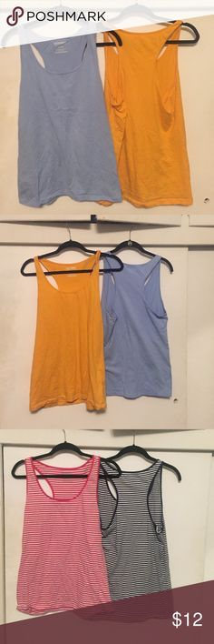 Razor back tank bundle! $4 each! Four rezor back tanks, two solid color, two striped. Old Navy Tops Tank Tops