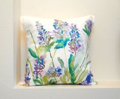 Lavender Watercolor Floral Pillow Cover, Designer Watercolor Fabric, Watercolor Flowers Home Decor, 18x18, 20x20 or 24x24