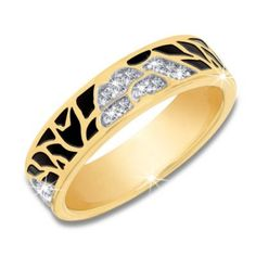 Ferrara Ring - A stylish enamel animal print and sparkling imitation diamonds adorn a sterling silver band with two-tone rhodium and gold plating to create a unique and sophisticated piece.