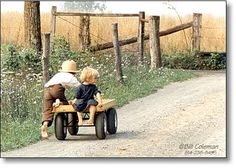 just the two of them.... puttering down the road.  ........Amish life.