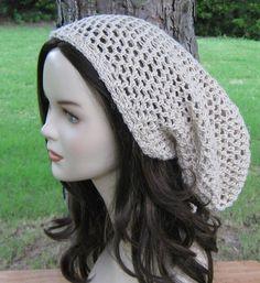 Natural Hemp Wool slouchy beanie dreadlock by PurpleSageDesignz