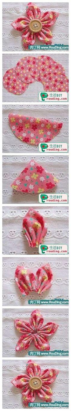 Button Crafts, Fabric Flower Pattern, Make Fabric Flowers, Diy Ribbon Flowers, Material Flowers, Fabric Flower Brooch, Fabric Hair Bows, Fabric Headbands, Kanzashi Flowers