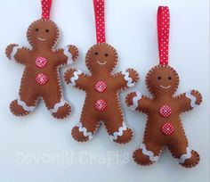x3 Felt Gingerbread Man Hanging Christmas por DevonlyCrafts en Etsy
