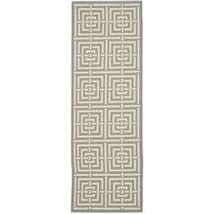 "Safavieh Courtyard Grey / Cream Outdoor Rug Rug Size: Runner 2'3"" x 14'"