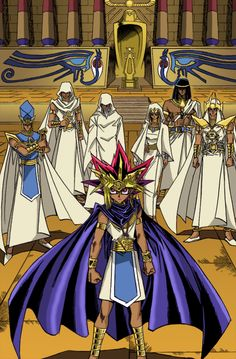 Colored image from the Yugioh Millennium World manga of the Pharaoh with his priests behind him.