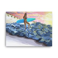 Surfer Girl on Jetty Canvas Print - Coastal Giclee Canvas Print - Tropical Art Print sold by Artistic Surf. Shop more products from Artistic Surf on Storenvy, the home of independent small businesses all over the world. Beach Artwork, Beach Wall Art, Beach Paintings, Gifts For Surfers, Surf Decor, Coastal Art, Tropical Art, Surf Art, Original Paintings