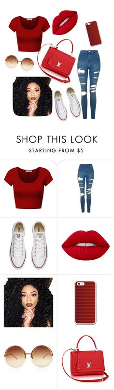 """""""CHERRY"""" by ogundimuderin ❤ liked on Polyvore featuring DK, Topshop, Converse, Lime Crime, Kylie Cosmetics and Linda Farrow"""