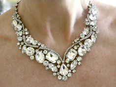 Bridal Statement Necklace  Rhinestone by WhiteAisleBoutique, $55.00
