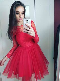 Red Tulle Short Prom Dress with Long Lace Sleeves