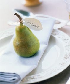 Pear Place Card via Martha Use brown pears for Thanksgiving and green pears for Christmas Thanksgiving Place Cards, Thanksgiving Table Settings, Holiday Tables, Thanksgiving Decorations, Table Decorations, Thanksgiving Ideas, Centerpieces, Thanksgiving Parties, Turkey Table