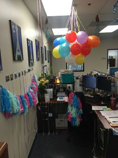 Birthday decorations for cubicle Cubicle Birthday Decorations, Office Party Decorations, Office Decor, Mary Birthday, Birthday Fun, Birthday Celebration, Work Cubicle, Work Party, Office Parties