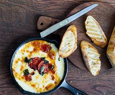 Baked Provolone Grilled Toast with Tomatoes, Marjoram and Balsamic