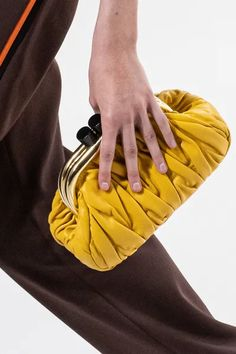 Fashion News, Fashion Beauty, Fashion Show, Fashion Outfits, Fashion Trends, Miu Miu, Frame Purse, Lace Silk, Yellow Fashion