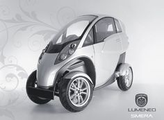 Lumeneo's smera narrow, 2-passenger electric vehicle that maneuvers as a motocycle