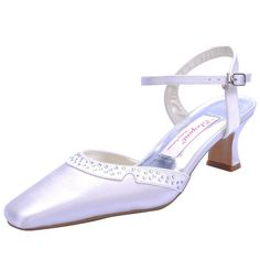 """Dyeable Comfortable Gorgeous 2"""" Rhinestones Pointy Toe Sandals - Ivory Satin Wedding Shoes (11 colors)"""