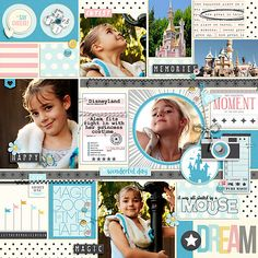 Disney Dream digital scrapbooking layout using Project Mouse: Beginnings Kit and Journal Cards by Sahlin Studio and Britt-ish Designs