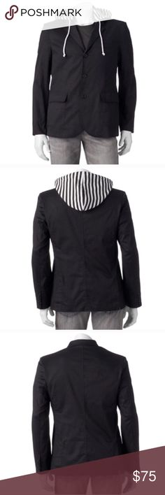 Removable hooded blazer jacket Product Details Be unique in your fashion with this men's WDNY Black slim-fit hooded blazer. Hoodie  PRODUCT FEATURES Detachable drawstring hood Blazer collar Button front 2 pockets & 1 faux pocket Long sleeves FIT & SIZING Slim fit FABRIC & CARE Dry clean 3.7 Jackets & Coats