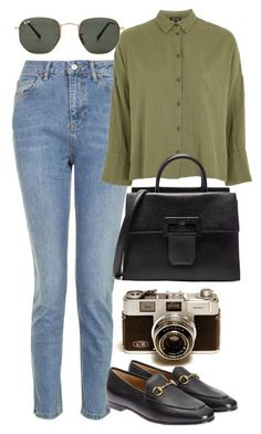 """""""Untitled #6213"""" by rachellouisewilliamson ❤ liked on Polyvore featuring Topshop, Gucci, Maison Margiela and Ray-Ban"""
