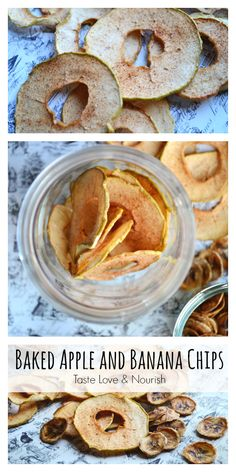 Baked Apple and Banana Chips - so easy and fun to make at home without any added fat or sugar. | @tasteLUVnourish on www.tasteloveandnourish.com