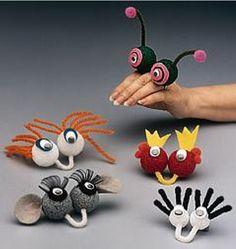 Handpop - leuk idee voor in klankkast: klein en grappig - klik op Finger Friends Fun