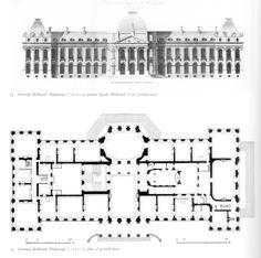 Germain Boffrand - Château de Malgrange - Plan & Elevation.