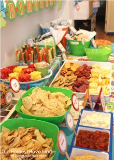 finger foods for parties | Dollor store bowls were filled with tortilla and pita chips, white a ...