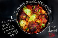 Jamaican brown stew chicken is perhaps as common of a dish as jerk chicken. The chicken and vegetables are slow braised so they are tender and flavorful. Jamaican Brown Stew Chicken, Jamaican Dishes, Jamaican Recipes, Jamaican Cuisine, Sauce For Chicken, Jerk Chicken, Chicken Recipes, Small Cabbage, Conkers