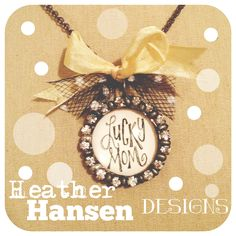 Handwritten Lucky Mom Rhinestone Soldered Pendant <3 by HHD
