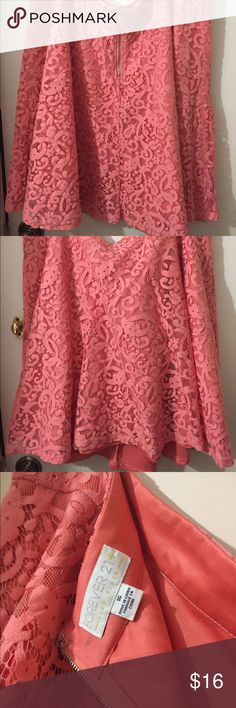Forever21 lace skirt Full lace skirt, curvy, gorgeous Cora color , good condition! Forever 21 Skirts A-Line or Full