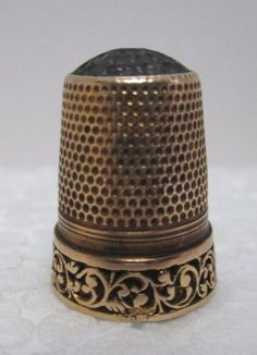 Antique Ornate 14 kt Rose Gold Thimble w/Scroll Motif Border & Glass Dimpled Top