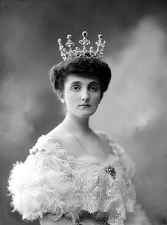 Her Royal Highness Princess Mirko of Montenegro, Grand Duchess of Grahovo and Zetà (1882-1950) née Natalija Konstantinović - possibly wearing a high version of the emerald tiara belonging to Queen Elena of Italy (her sister-in-law)