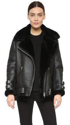 Acne Studios Куртка Velocite в байкерском стиле из короткой шерсти
