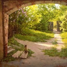 Spring cat painting. The Lilac are Flowering - Dmitrij Levin