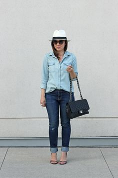 Old Navy Denim on Denim, Chambray Shirt, Sweetheart Skinny Jeans-just bought the jeans and the shirt...my new look for fall...mixed denim
