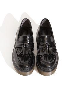 182dcfc8c14 Black Tassel Platform Loafers - Tassel Doc Martens - Black Slip On Shoes