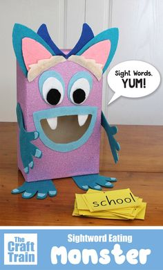 Monster Munch sight word game for kids. Make an adorable monster out of a recycled cereal box to make word practice fun. games # Sight words crafts for kids Creative Activities For Kids, Creative Kids, Projects For Kids, Feed The Monster, Monster Munch, Monster Box, Monster High, Toddler Crafts, Preschool Crafts
