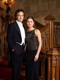 """""""Lauren and I on the iconic Highclere stairwell just before an elegant dinner here at Downton Abbey."""" - David Lauren"""