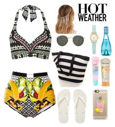 """""""#HotWeather"""" by ellen2104 ❤ liked on Polyvore featuring Clover Canyon, M&Co, Havaianas, Casetify, Ray-Ban, Forever 21, Aveeno, claire's, Davidoff and Kate Spade"""