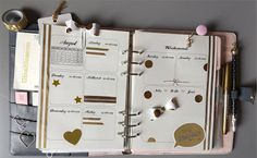 Filofaxing Kikki K Dekoration KW 33 - vintage gold dots crown pen bow Schleife weiß | the blossom's place