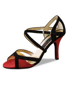 Paulina tango, ballroom and salsa dance shoe for women by Nueva Epoca. Nappa red suede leather with black suede trim